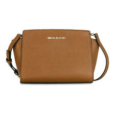 Michael Kors Selma Saffiano Leather Medium Messenger Bag - Luggage