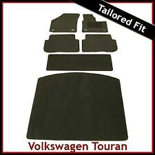 VW Touran Mk1 2003-2010 Round Clips Tailored Fitted Carpet Car & Boot Mats BLACK