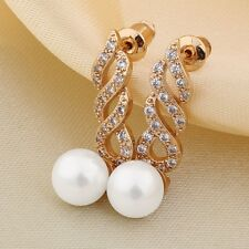 Style earring!18k gold filled White pearl PARTY swarovski crystal dangle earring
