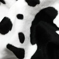 Black & White Cow Print Velboa Faux Fur Fabric P/ Metre