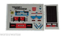 G1 Sideswipe Complete Sticker Decal Sheet