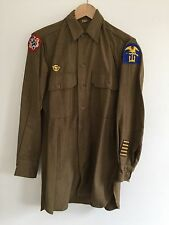 VTG Dated 1943 WW2 Olive Drab Wool Field Shirt With Patches, Gas Flap WWII