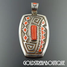 MICHAEL PERRY NAVAJO 925 SILVER TUFA CAST CORAL HOLY MESA INLAY LARGE PENDANT