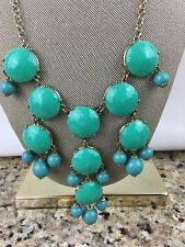 JCREW STATEMENT NECKLACE BLUE BUBBLE LONG PARTY HOLIDAY CHANDELIER PYRAMID