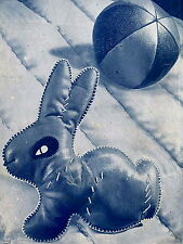 Vintage 1940s 'rag bag' bunny rabbit & ball toy sewing pattern-paper pieces