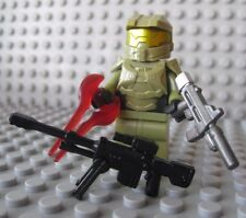Lego Custom HALO MASTER CHIEF Spartan Minifigure -Olive Green- Sword Sniper SMG