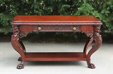 19th c RJ Horner Library Table Partners Desk Winged Breasted Maidens Paw Feet