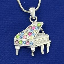 Piano w Swarovski Crystal Multi Color Music Grand Piano New Jewelry  Necklace