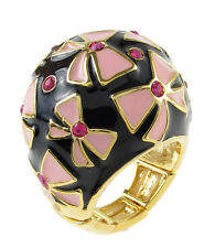 BETSEY JOHNSON 'Enamel Rings' Pink Bow Crystal Gold-Tone Stretch Dome Ring