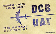 1960 DC8 UAT PARIS BRAZZAVILLE CONGO   Airmail Aviation premier vol AC15