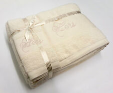 Hers Luxury Embroidered 100% Cotton Bath Sheet Hand Towel Guest Towel Set Cream