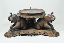 ANTIQUE CHINESE INDO CHINA WOOD STAND ELEPHAN LOTUS BOWL VASE