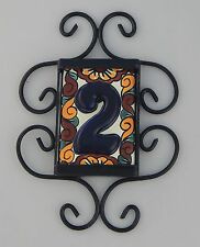 ONE Mexican HOUSE  NUMBER Tiles & Iron Frame High Relief