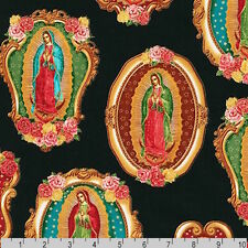 Inner Faith Virgin Mother MARY of Guadalupe Metallic Black Fabric