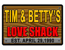 PERSONALIZED SIGN YOUR NAME LOVE SHACK ALUMINUM NO RUST FULL COLOR CUSTOM SIGN.