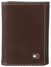 NEW TOMMY HILFIGER MEN'S PREMIUM LEATHER CREDIT CARD WALLET TRIFOLD TAN 4436-04