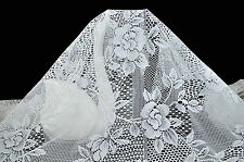 "~ Ivory White Big Flower (5"") Lace Fabric Floral Style 45"" Wide ~ [5 Free 1]"