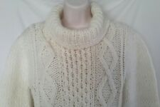 Vintage Italian Sicilian Handcrafted  Fisherman Knit Cowl Neck Sweater Size M-L