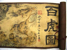 Chinese Ancient picture silk paper 100 Tigers Scroll painting **Free Sh