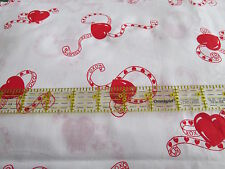Wamsutta Vtg 80s cotton fabric red Heart Tattoo half yard cut 1/2 Valentine