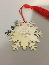 Personalised Snowflake Bookmark -Engraved - Christmas Gift - Stocking Filler