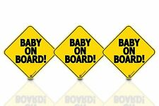 "Zone Tech 3 Baby on Board 5x5"" Warning Car Bumper Decal Reflective Magnet Signs"