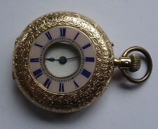 QUALITY ANTIQUE 18CT GOLD HALF HUNTER POCKET WATCH, JOHN BENNETT LONDON