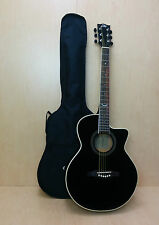 EKO NXT 018 CW EQ Straight Cutaway Electro-Acoustic Guitar, Black + Free gig bag