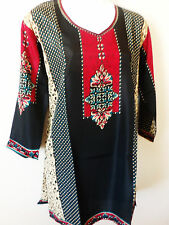 Womens Crepe top Kurta Kurti Tunic Casual Printed Indian blouse size large