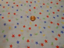 COTTON QUILTING FABRIC -RED, BLUE & YELLOW STARS, GREEN MOONS ON LITE BLUE  BTY