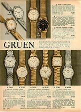 1962 PAPER AD 3 PG Gruen Wrist Watch Auto Wind Chairman 25 Jewel Cosmic 65 Jewel