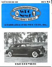 WPC News,  November 1985,  1940 Chrysler featured