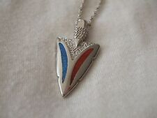 Native American Sterling Silver Turquoise/ Coral Arrowhead pendant silver chain