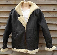 Vintage Rugged Black Sheepskin B3 Leather Flying / Bomber Jacket - L