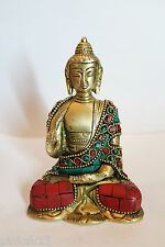 """Rare 4.7"""" Brass Bronze Gem Stone Turquoise Work Gautama Buddha Shakyamuni Statue"""