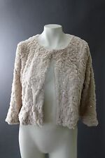 FOREVER 21 plush cream cropped cocktail jacket w/ gold sequin 3/4 Sleeve sz M/L