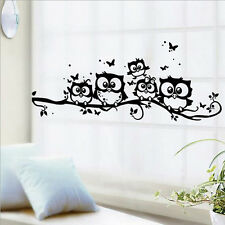 Black Owl Wall Stickers Decal Vinyl Art Kids Nursery Home Room Holiday Decor DIY