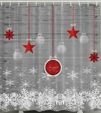 Ornaments Christmas Fabric SHOWER CURTAIN Red Grey White Snow Flakes Bath Decor