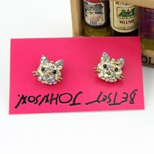 New Betsey Johnson Stud Earrings Gift FS Women's Jewelry Vintage Rhinestone Cat