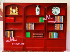 Wood RED Bookshelf Bookcase Library Cabinet Reading Room Dollhouse Miniature