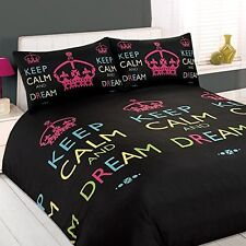 B047 Gorgeous Single Popular Keep Calm & Dream Black/Multi Teen Fashion Bed Set