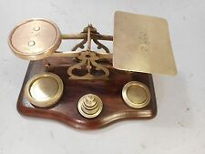Antique Brass Postal Scales + Weights  ref 2169