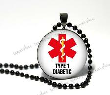 Type 1 Diabetic Medical Alert Necklace Glass Pendant Black Setting & Chain