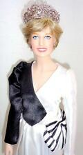 "Franklin Mint Princess Diana 16"" Vinyl Doll Custom Saudi Arabia Black White Gown"