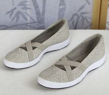 Sz 7.5 M-Grasshoppers Womens White Dots Beige Slip-On Walking Flat Sneaker Shoes