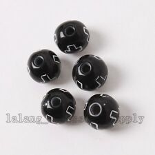 200pcs New Black Surface Cross Pattern Round Ball Spacer Beads Findings 8mm L