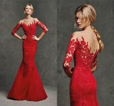 Elegant Sheer Lace Long Sleeve Red Prom Dress Mermaid Wedding Party Formal Gowns