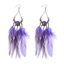 Bohemian Resin Flower with Chain Rhombus Feather Tassel Women Hook Earrings Gift