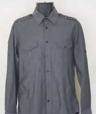 Men's EXPRESS 1MX Fitted Gray Button Front Shirt Size S 14-14.5