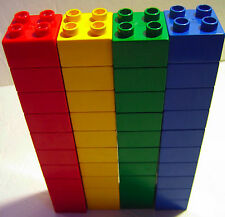 LEGO DUPLO Building Toys: Bulk RED BLUE GREEN YELLOW 2x2 Brick Lot *40 Blocks*